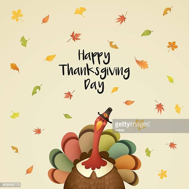 pilgrim turkey with falling leaves - pilgrim stock illustrations, clip art, cartoons, & icons