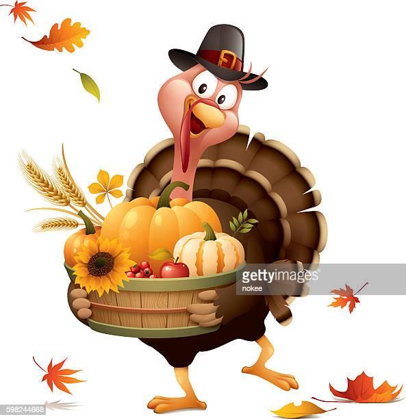 pilgrim turkey with harvest basket - pilgrim stock illustrations, clip art, cartoons, & icons