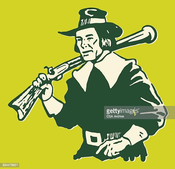 pilgrim with rifle - pilgrim stock illustrations, clip art, cartoons, & icons