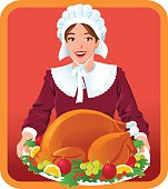 Pilgrim Woman with Thanksgiving Roasted Turkey