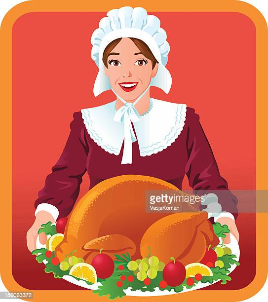 pilgrim woman with thanksgiving roasted turkey - bonnet stock illustrations, clip art, cartoons, & icons