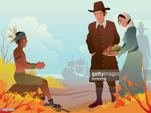 pilgrim/thanksgiving - pilgrim stock illustrations, clip art, cartoons, & icons