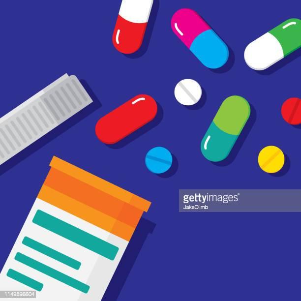 pill bottle flat - antibiotic stock illustrations, clip art, cartoons, & icons