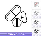 Pill drug medicine simple thin line vector icon