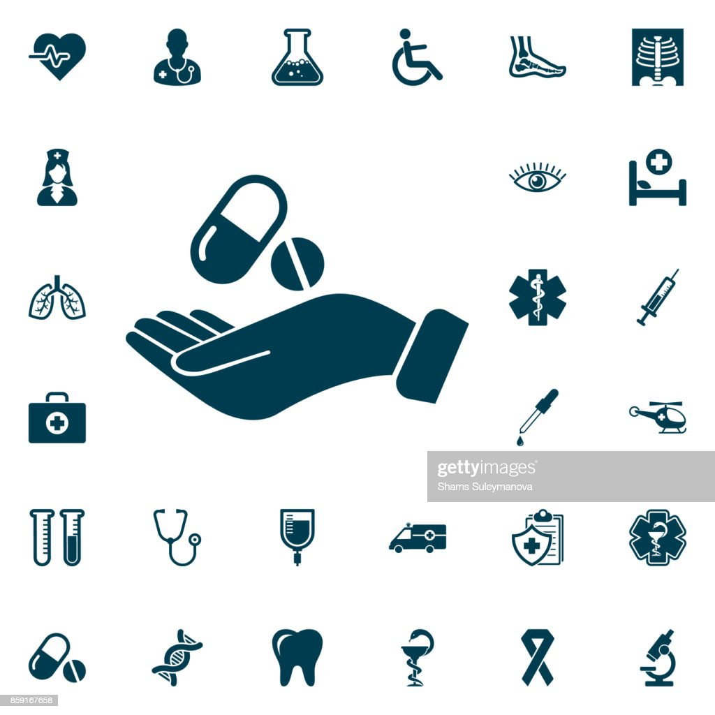 Pill in the hand icon, medical set on white background. Health Care Vector illustration