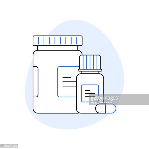 pillbox related line icon set. outline symbol icons - kailua stock illustrations