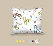 Pillow decorated pattern of bows, stars and moons. Seamless pattern of bows and stars, moons. Cartoon style.