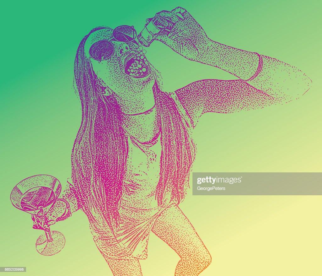 Pills and booze : stock illustration