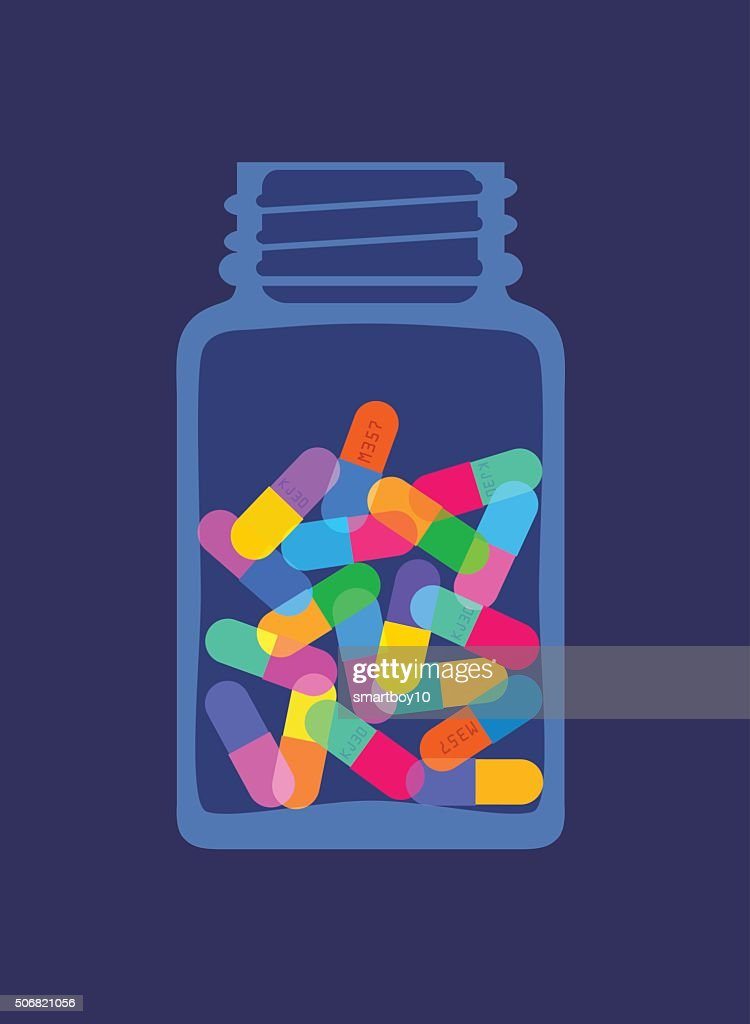 Pills and Capsules in Bottle : stock illustration