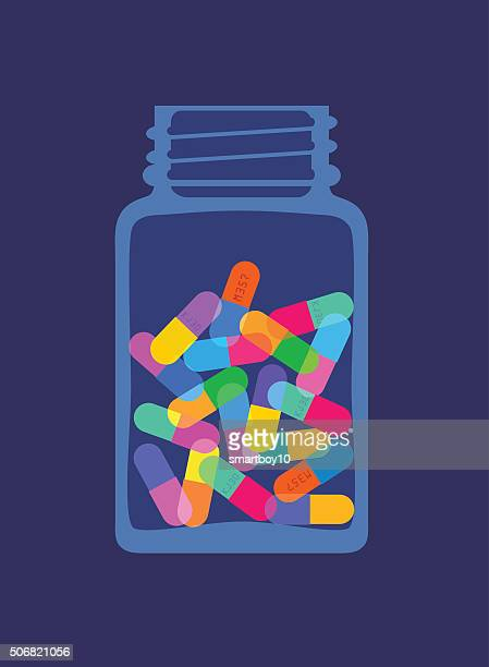 pills and capsules in bottle - recreational drug stock illustrations, clip art, cartoons, & icons