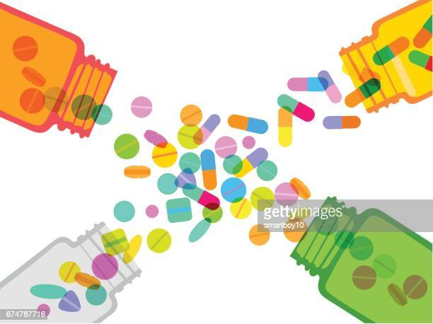 pills and capsules jars - recreational drug stock illustrations, clip art, cartoons, & icons