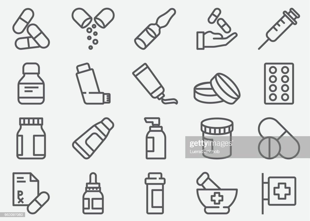 Pílulas e ícones de linha farmácia : Ilustração