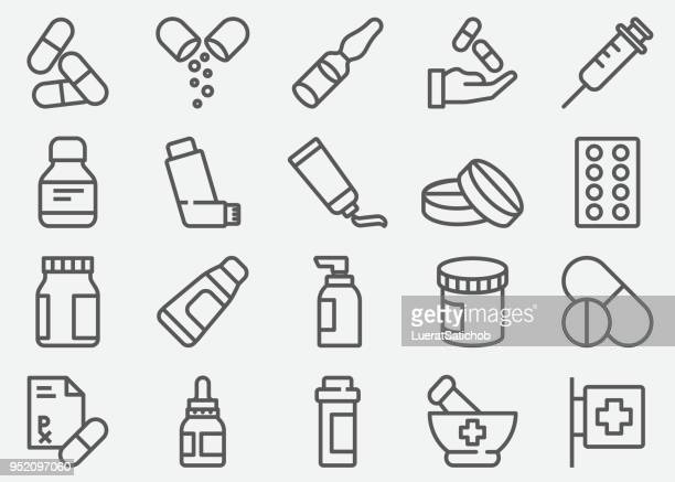 stockillustraties, clipart, cartoons en iconen met pillen en apotheek lijn pictogrammen - fles