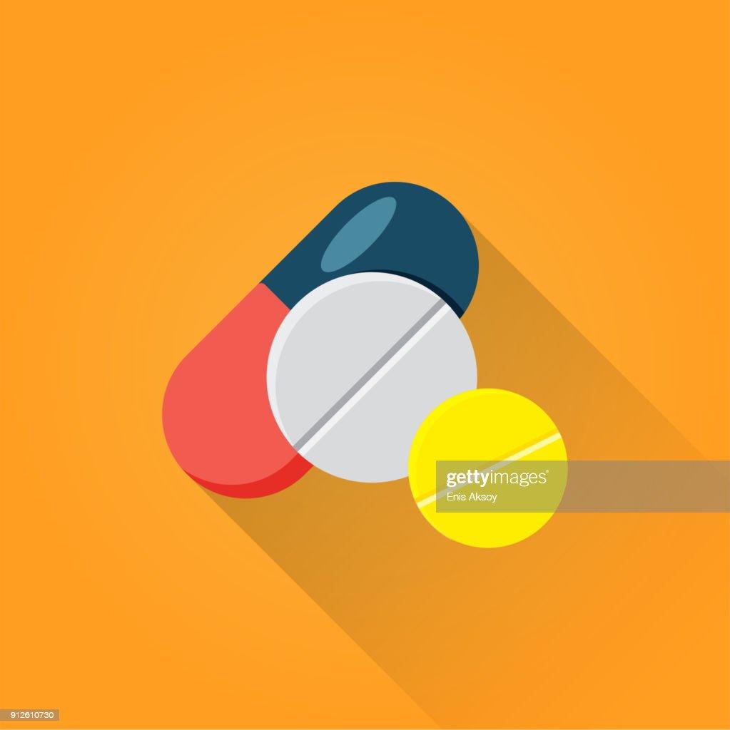 Ícone de plana de comprimidos : Ilustração