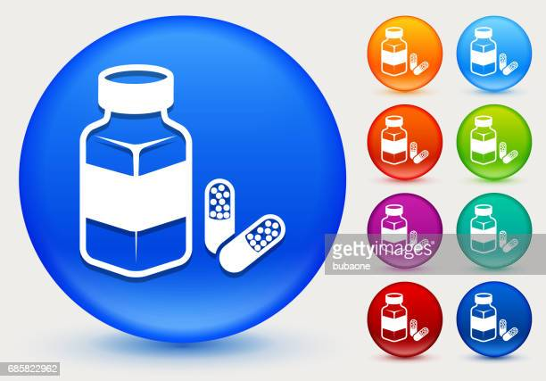 Pills Icon on Shiny Color Circle Buttons