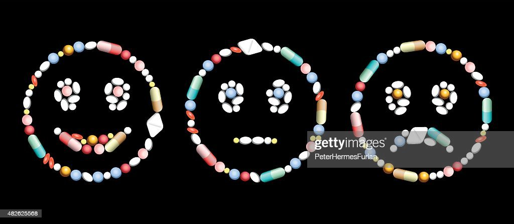 Pills Medicine Smiling Frowning Face Positive Negative