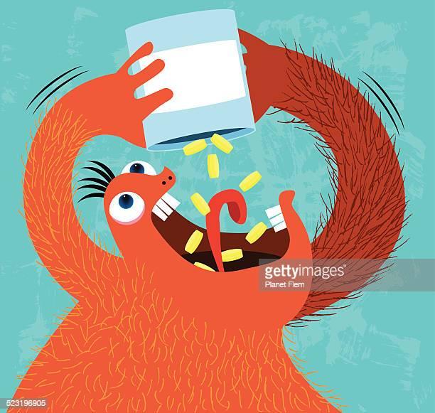 pills monster - cocaine stock illustrations, clip art, cartoons, & icons