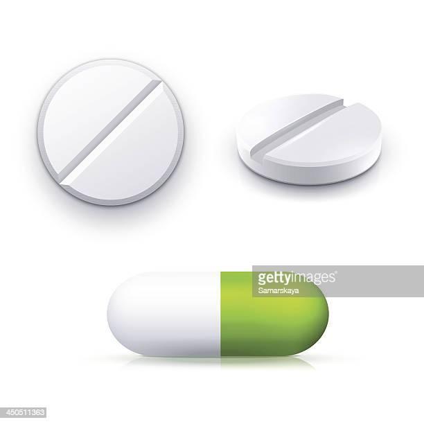 ilustrações, clipart, desenhos animados e ícones de comprimido - remédio