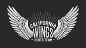 Pilot club retro  - wings with inscriptions