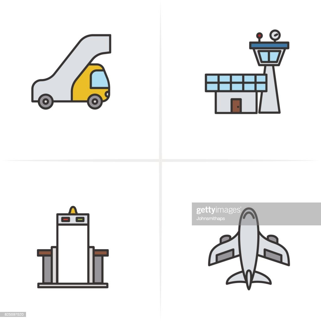 Pilot color icons set. Passengers ladder, flight control tower, metal scanner gate, aircraft symbol. Vector isolated illustration.