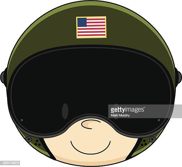 usaf pilot in flight helmet - helmet visor stock illustrations, clip art, cartoons, & icons