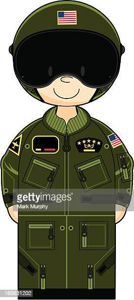 USAF Pilot in Flight Suit and Helmet