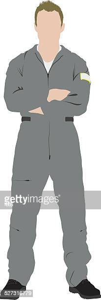 Pilot standing arms crossed