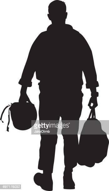 pilot walking with helmet silhouette - air force stock illustrations