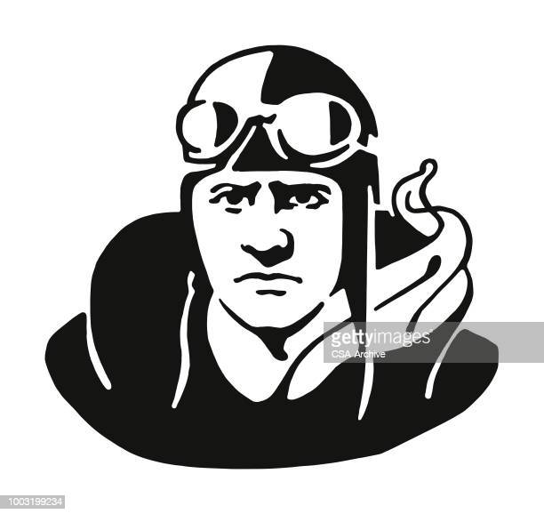 Pilot with Goggles and Scarf