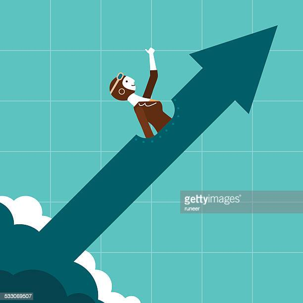 piloting the business trend | new business concept - cheerful stock illustrations