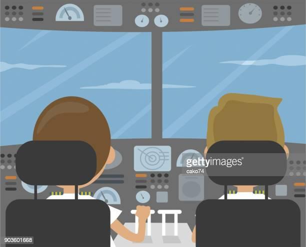 パイロットとコックピットのベクトル図 - 副操縦士点のイラスト素材/クリップアート素材/マンガ素材/アイコン素材