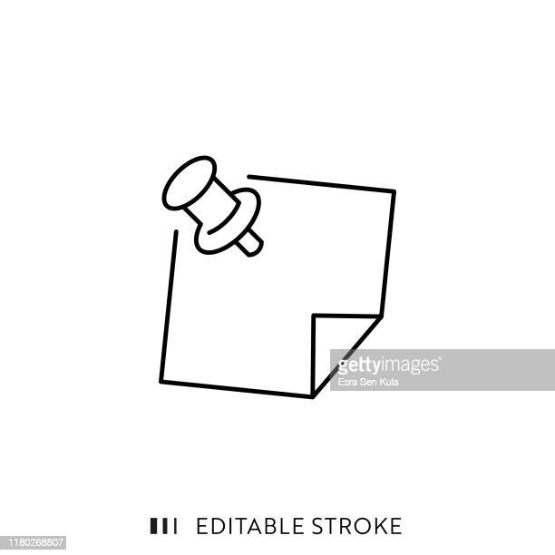 pin and note paper icon with editable stroke and pixel perfect. - push pin stock illustrations