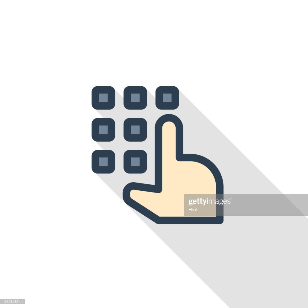 Pin code keypad, access security lock, hand pushing thin line flat icon. Linear vector symbol colorful long shadow design.