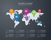 Pin icon on world map background vector illustration infographic template