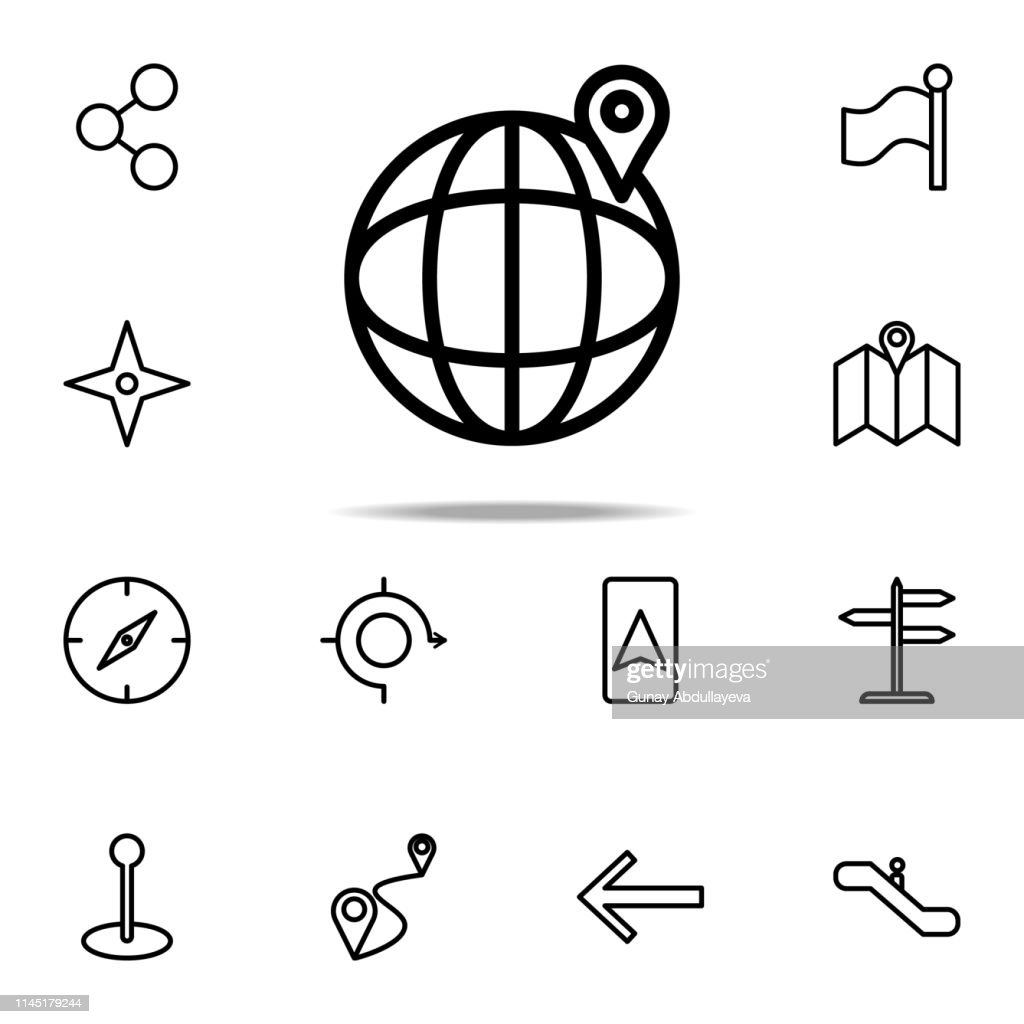 pin on the globe icon. Navigation icons universal set for web and mobile