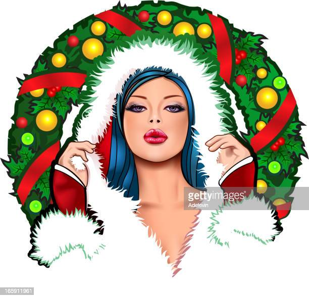stockillustraties, clipart, cartoons en iconen met pin up christmas girl - sensualiteit
