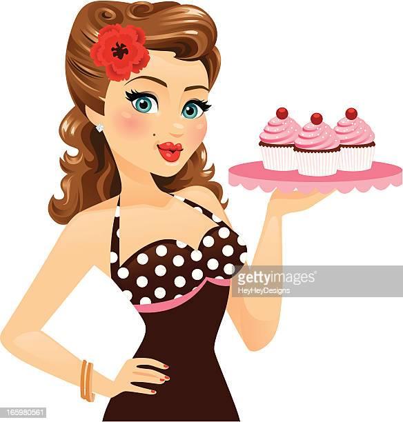 ilustraciones, imágenes clip art, dibujos animados e iconos de stock de pin up girl holding cupcakes - chicas de calendario