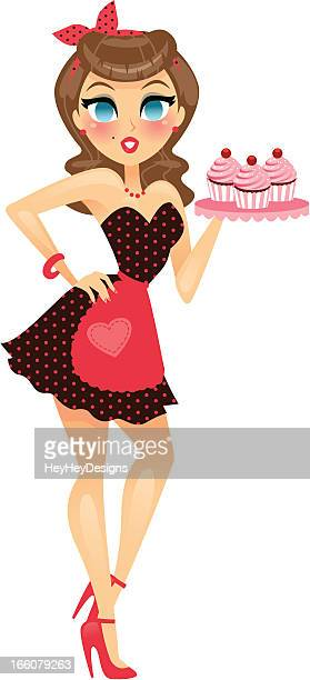 Pin Up Girl Holding Cupcakes