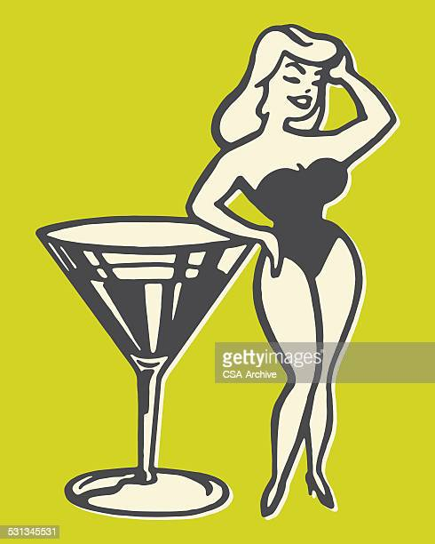 illustrations, cliparts, dessins animés et icônes de pin up fille près de grand martini - grosse poitrine