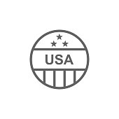 Pin, USA icon. Element of 4th of july icon. Thin line icon for website design and development, app development. Premium icon
