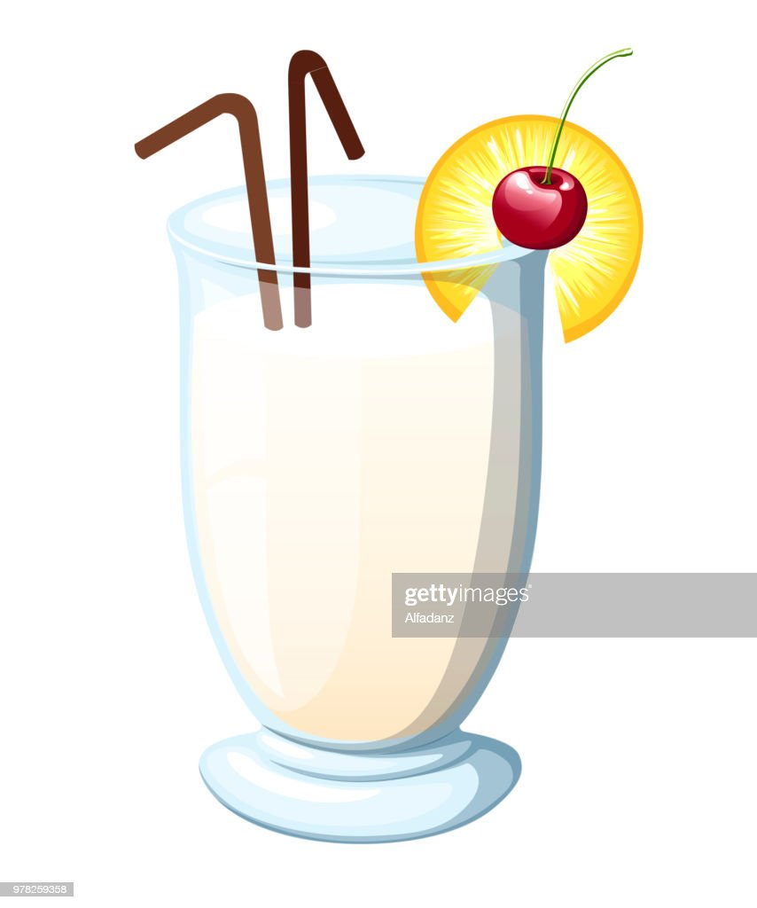 Pina Colada cocktail garnished with maraschino cherry. Pineapple wedge. Brown straw tubes. Flat vector illustration isolated on white background