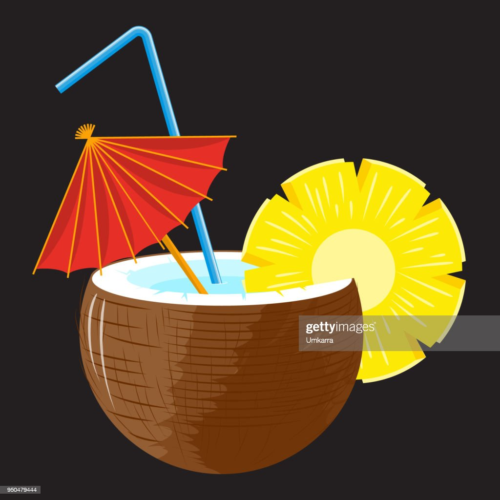 Pina colada cocktail in coconut with pineapple slice, red umbrella and straw on black background. Vector.