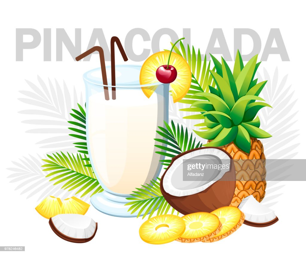 Pina Colada cocktail. Tropical cocktail with coconut and pineapple. Glass with drinks tube. Green palm leaves. Vector illustration on white background with gray palm leaves