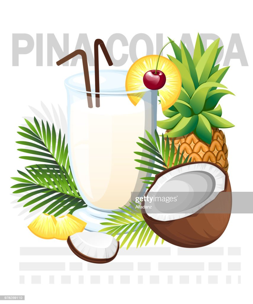 Pina Colada cocktail. Tropical cocktail with coconut and pineapple. Glass with drinks tube. Green palm leaves. Vector illustration on white background