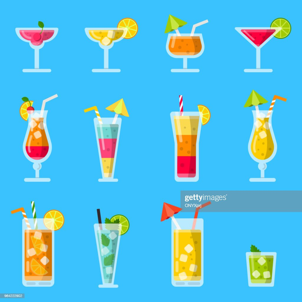 Pina colada, juice, mojito and other various alcoholic summer cocktails