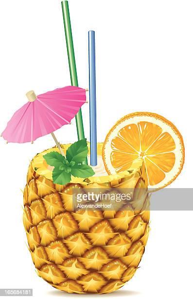 illustrations, cliparts, dessins animés et icônes de pina colada dans un ananas - ananas