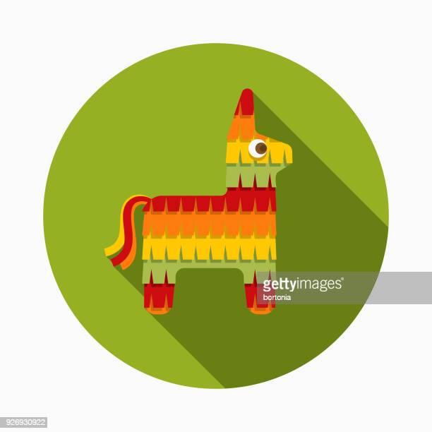 ilustrações, clipart, desenhos animados e ícones de piñata design plano méxico ícone com sombra do lado - pinata
