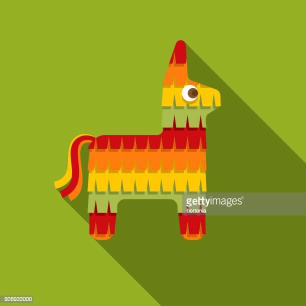 pinata flat design mexico icon with side shadow - pinata stock illustrations