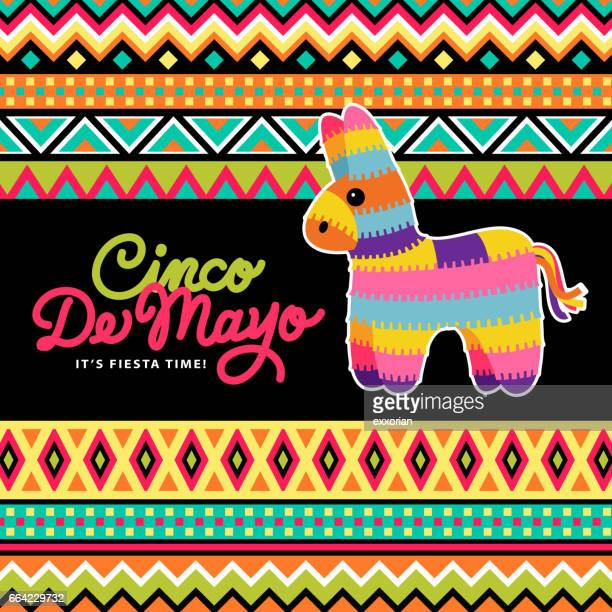 pinata on mexican background - tapestry stock illustrations