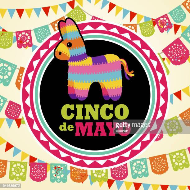 pinata on papel picado background - cinco de mayo stock illustrations